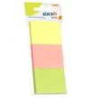 Notes autoadeziv 3 culori, roz, galben, verde, 100 file/set, 51x38 mm, Stick'n